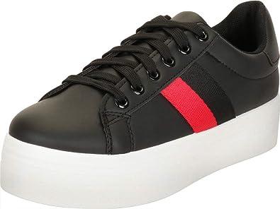 0e6d74c337a54 Cambridge Select Women's Side Stripe Chunky Platform Low Top Fashion Sneaker