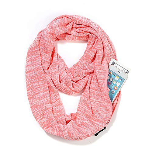 (Scarves for Women,Girls,Ladies Infinity Scarf with Zipper Pocket Soft Stretchy Lightweight Wrap (Pink))