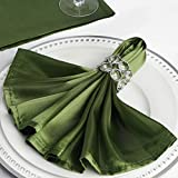 Efavormart 20''x20'' Moss/Willow Wholesale Satin Linen Napkins for Wedding Birthday Restaurant Party Tableware Decoration - 5 PCS