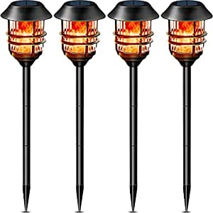 "55"" Tall Solar Torches Lights with Flicking Flame 100% Metal LED Solar Light Outdoor Dancing Stainless Steel Walkway Lighting for Garden Patio Yard Decor Waterproof Pool Path Effect light 4 packs"