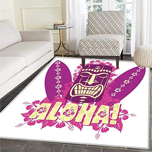 Tiki Bar Decor Dining Room Home Bedroom Carpet Floor Mat Tiki Culture Figure Surfboards Hibiscus Hand Drawn Aloha Non Slip Mat 5'x6' Hot Pink Purple Light Yellow