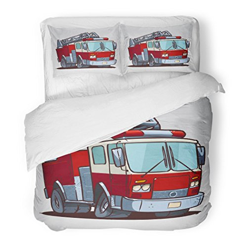 Set Red Engine Cartoon Fire Truck Firetruck Department Cool Decorative Bedding Set with 2 Pillow Cases Full/Queen Size ()