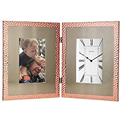 Bulova B1245 Picture Frame Pebble Stone Mantel Clock, Copper
