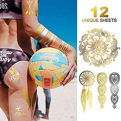 Temporary Tattoos, 12 Sheets Henna Tattoo Kit, 176 Pieces Flash Metallic Silver White Tattoos Combo, Mandala Festival Clothing, Gold Tattoos, DIY Home Decor, Boho Body Tattoos for Women Kids