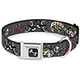 Buckle-Down Lucky Gray Dog Collar Bone, Wide Medium/16-23