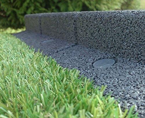 FlexiBorder – Wetterfeste, Rasenmäher-sichere, Flexible Garten Rasenkante – 9 x 1 Meter Länge in einem Pack (Grau)