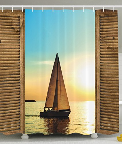 Ambesonne Sea Life Nautical Beach Ocean Decor Sailboats in Scenic Sunset by Wooden Window Frames, Polyester Fabric Bathroom Shower Curtain Set with Hooks (Sailboat Shower Curtain compare prices)