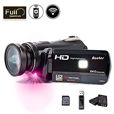 2018 Wifi Full Spectrum Camcorder, 1080P Full HD 30FPS Infrared Night Vision Paranormal Investigation Camcorder with Video Recorder 18X Digital Zoom - Ghost Hunting Camera (16GB SD Card Included) from Ancter