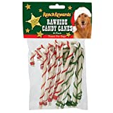 """Ranch Rewards Holiday Candy Canes — Festive Treats for Dogs, 5"""", Pink"""