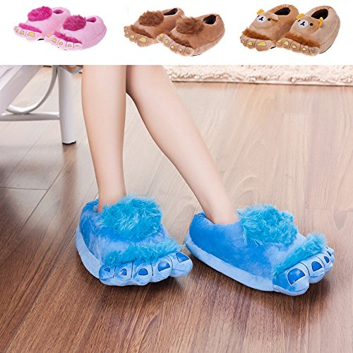 Eastlion Cartoon Feet Adult Home Slippers Winter Warm Indoor Shoes One Size apricot I351h4w4Y