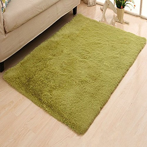 KLOUD City Super Soft Modern Shag Area Rugs Living Room Carpet Bedroom Rug for Children Play Solid Home Decorator Floor Rug and Carpets 4- Feet By 5- Feet Green