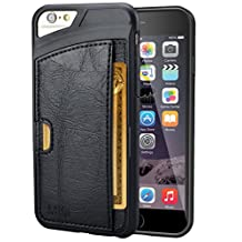 Mifa iphone 6 6s slim card holder slot wallet case cases ID Credit Card TPU leather full body protector drop proof edge proof - Black