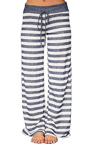 Hibluco Women's Floral Printed Drawstring Leggings Wide Leg Pants High Waist Trouser (Large, (Cotton Drawstring Leggings)