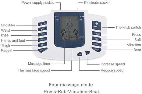 Decenas Máquina Músculo Estimulador Acupuntura Masajeador Intermedio Frecuencia Digital Meridiano Masaje Instrumento 4 formas de masaje Pantalla grande Monitor Carga usb/Batería,White: Amazon.es: Salud y cuidado personal