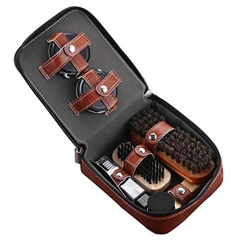 Ensemble de 9 Kit de cirage de chaussures Brosse de soins spéciaux Ensemble de chaussures en cuir Entretien du nettoyage… 1