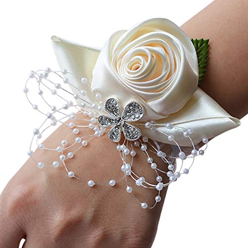 essibly11jmp Bridesmaid Sisters Wrist Corsage Flowers Ribbon Rhinestone Wedding Party Supplies White