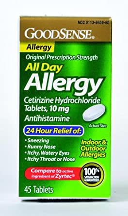 All Day Allergy Relief Tablet, 10 mg Cetirizine Hydrochloride (45 Count) LP14967 Qty 45 Per Box