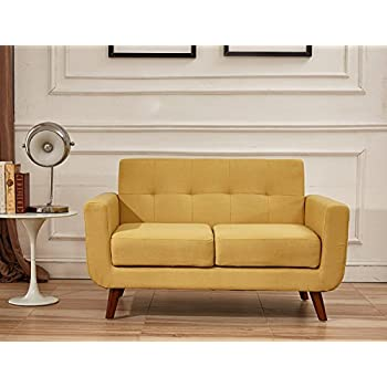 container direct jenny midcentury modern button tufted loveseat mustard yellow