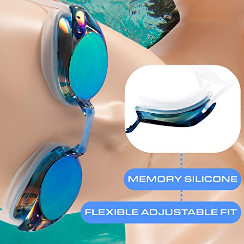 09f18f24 Zodaca Swimming Goggles for Adults, Anti-Fog UV Protection Triathlon  Mirrored Swim Goggles with