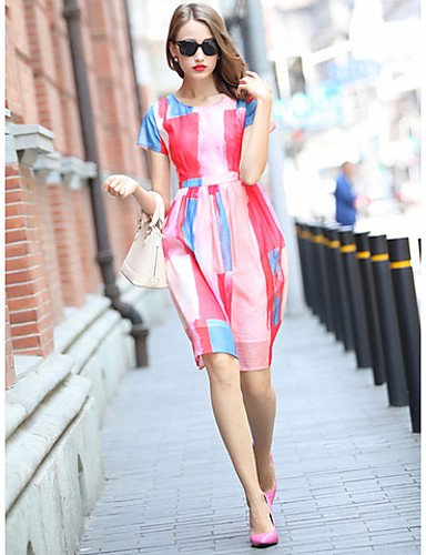 PU&PU Robe Aux femmes Ample Simple,Couleur Pleine Col Arrondi Mi-long Polyester , pink-2xl , pink-2xl