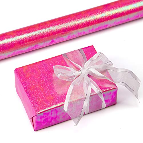RUSPEPA Gift Wrapping Paper Roll- Pink Paper with Rainbow Shiny for Wedding,Birthday, Shower, Congrats 81.5 Sq Ft - 30Inch X 32.8 Feet Per Roll]()
