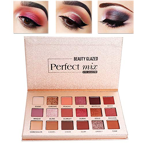 Beauty Glazed 18 Matte Shimmer Colors Eyeshadow Palette Longlasting Perfect Mix Makeup Powder Pink Shades Eye shadow Pallete Beauty Cosmetic