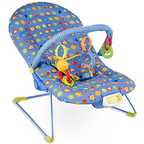 Costzon Baby Rocker Chair, Adjustable Reclining Chair with Music/Vibration Box/Toys, Baby Bouncer (Sunflower) by Costzon