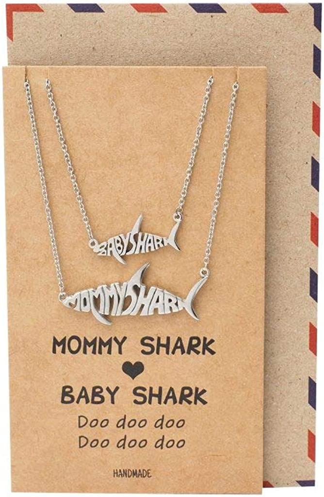 Quan Jewelry Mommy and Baby Shark Pendant Necklaces Set of 2, Best Jewelry Gifts for Family