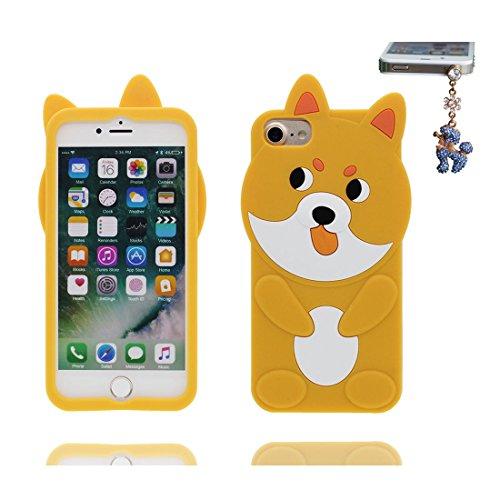 "Hülle iPhone 7 Cover 3D Cartoon Gelber Hund TPU Flexible, iPhone 7 Handyhülle 4.7"", iPhone 7 case Schock-Poof Gelber Welpe Cute Dog und Staubstecker"
