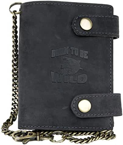 Men's Grey Genuine Leather Wallet with Metal Chain with Shark