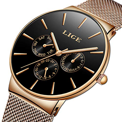 LIGE Mens Watches Fashion Casual Minimalist Analog Quartz Watch for Men Waterproof Stainless Steel Mesh Belt Date Black Gents Dress Wristwatch