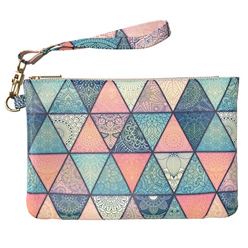 d4689177d39a Lex Altern Makeup Bag 9.5 x 6 inch Boho Chic Triangle Pattern Mandala  Flowers Designed Print Purse Pouch Cosmetic Travel PU Leather Case Toiletry  ...