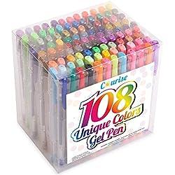 Courise 108 Unique Colors Gel Pens Gel Pen Set For Adult Coloring books Drawing Painting Doodling