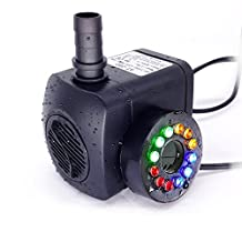 CCLI 10W 600L/Hour 12 Colored LEDs Light Submersible Fountain Fish Aquarium Water Pump Gardens