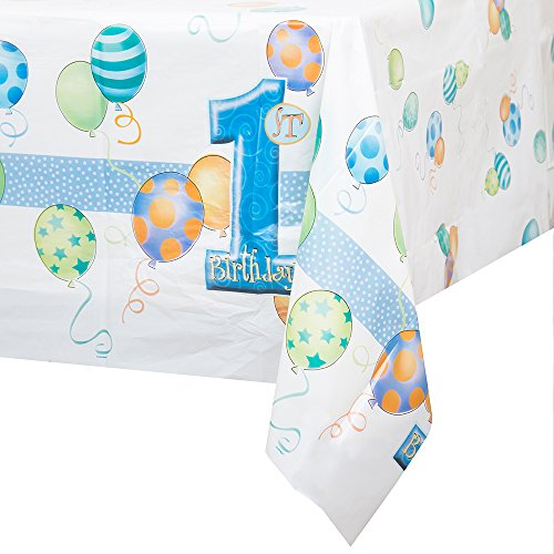 - Blue 1st Birthday Plastic Tablecloth, 84