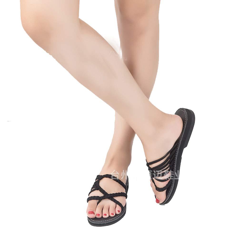 GOFIVE Sandales Plates pour Tongs Femmes Été Slip Toe Tongs Femmes Plein Tongs De Plage Chaussures Pantoufles en Plein Air Noir a1d79c1 - automaticcouplings.space