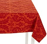 Mahogany Ivory Scroll Rectangular Jacquard Cotton Tablecloth, 60-Inch by 120-Inch