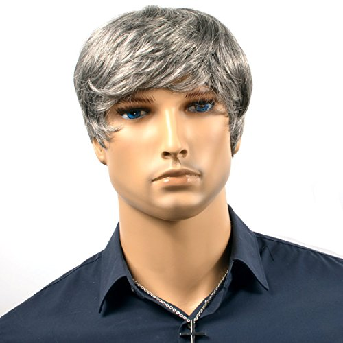 Men Wigs Silver Grey Short Curly Lace Wigs for Men Heat Resistance Fiber Hair Men Wigs Curly with The Attractive Natural Color -
