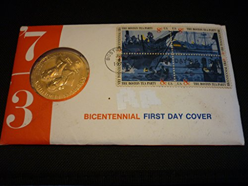 1973 American Bicentennial Commemorative Medal & Stamps First Day Cover - Boston Tea Party -