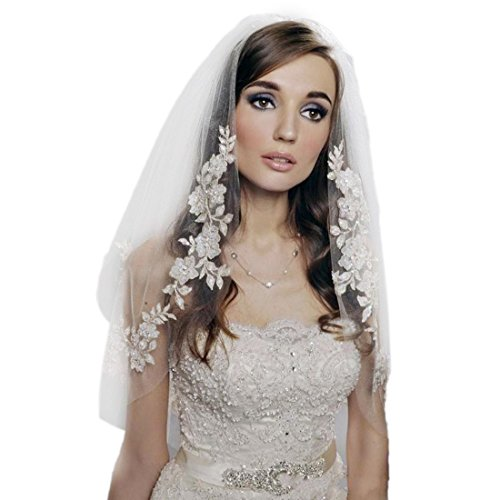 1T Women Wedding Bridal Appliques Beaded Veil with Comb-V50(Ivory)