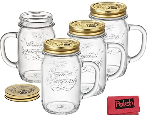 drinking bundle italian clear glass mason jar drinking glasses with gold lids set of 4 14 ounces bundled with cloth - Mason Jar Drinking Glasses
