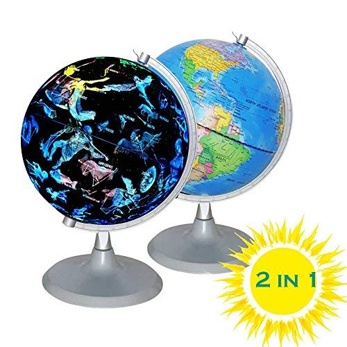 CYHO Illuminated World Globe - USB 2 in 1 LED Desktop World Globe, Interactive Earth Globe with World Map and Constellation View Fit for Kids Adults, Ideal Educational Geographic Learning Toy (G-1) ()
