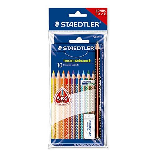 Staedtler Tricki Dicki jumbo Buntstifte, erhöhte Bruchfestigkeit, dreikant Set mit 10 brillanten Farben, Bonuspack mit Radierer und jumbo Bleistift, 61 SET7