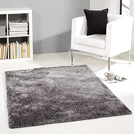 Flair Rugs Grande Vista Shaggy Hand Made Rug, Grey Mix, 120 X 170 Cm