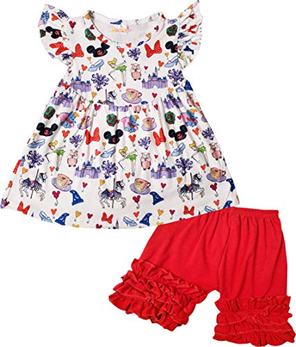 Boutique Toddler Girls Cartoon Characters Minnie Top Shorts Outfit 4T/L ()