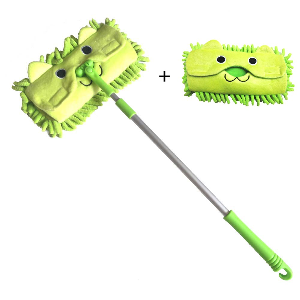Xifando Mini Microfiber Chenille Cartoon Flat Dust Mop for Children,Detachable,360 degree rotation, Extension-type (Green)
