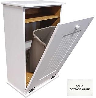 Tilt Out Wooden Trash Bin Holder (Solid   Cottage White)