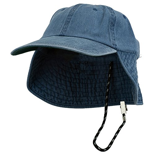 e4Hats.com Washed Cotton Flap Hat-Navy OSFM (E4hats Cotton Flap Hat)