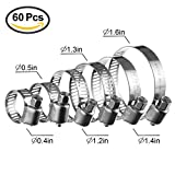 GTANG 60 Piece Stainless Steel Hose Clamp Assortment Worm Gear Hose Clamp 6 Sizes Water Pipe Clamp for Plumbing, Automotive and Mechanical Applications