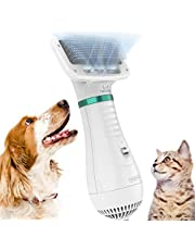 DADYPET Cepillo para Perros y Gatos, secador de Pelo para Perros y Gatos combinación de secador de Pelo y Cepillo Velocidad Ajustable Adecuado para Perros y Gatos pequeños y medianos Cable de 2m